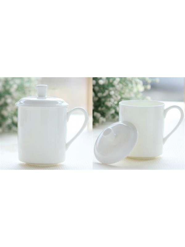 White porcelain cup with lid